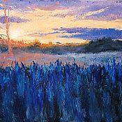 Картины и панно ручной работы. Ярмарка Мастеров - ручная работа Травы на закате - картина маслом пейзаж. Handmade.