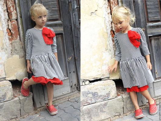 """Одежда для девочек, ручной работы. Ярмарка Мастеров - ручная работа. Купить Платье """"Алиса"""" в черно-белую полоску.. Handmade. Комбинированный"""