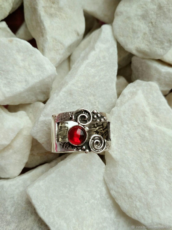 Серебряное кольцо с иск.гранатом, Кольца, Тула,  Фото №1