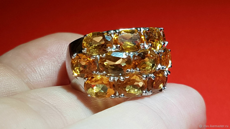 Кольцо: Цитрины 3х рядное.925.белое золото 18 р, Кольца, Москва,  Фото №1