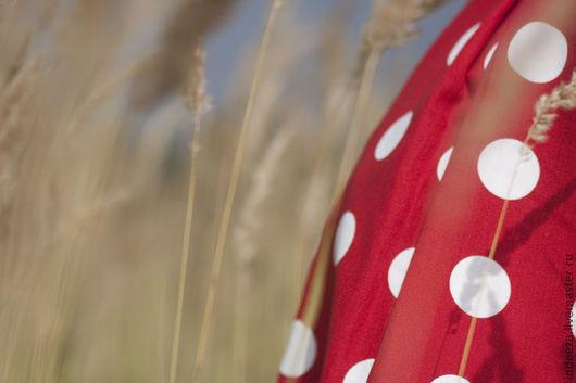 """Платья ручной работы. Ярмарка Мастеров - ручная работа. Купить Платье """"Красное в горох"""". Handmade. Ярко-красный, хлопок"""