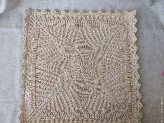 Текстиль, ковры ручной работы. Ярмарка Мастеров - ручная работа. Купить наволочка вязанная ажурная. Handmade. Бежевый, наволочка на подушку