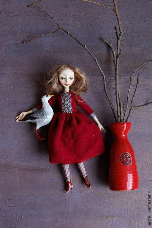 Коллекционные куклы ручной работы. Ярмарка Мастеров - ручная работа. Купить Агнешка с чайкой. Авторская кукла.. Handmade. Бордовый, подарок