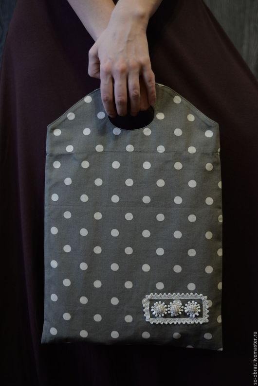Женские сумки ручной работы. Ярмарка Мастеров - ручная работа. Купить Сумка тоут в горошек в стиле серьезной романтики. Handmade.