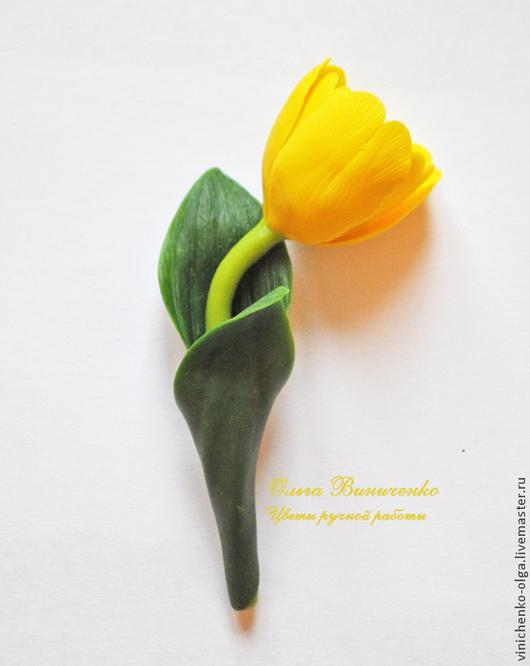 """Броши ручной работы. Ярмарка Мастеров - ручная работа. Купить Брошь """"Желтый тюльпан"""". Handmade. Желтый, тюльпан из глины"""