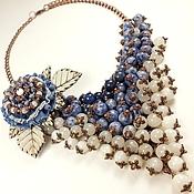 Украшения handmade. Livemaster - original item Cloudy - Denim Study. Necklace, brooch. Handmade.