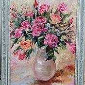 Картины и панно handmade. Livemaster - original item Pattern:Rose bouquet in a vase.. Handmade.