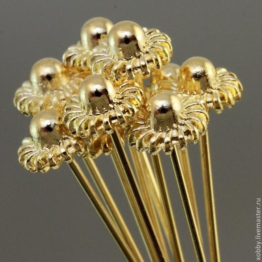 Пины длинные с штифтом 55 мм и фигурной литой шляпкой из латуни и покрытием античное золото для сборки украшений комплектами по 10 штук