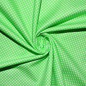 Материалы для творчества ручной работы. Ярмарка Мастеров - ручная работа Американский хлопок-фланель МЕЛКИЙ ГОРОШЕК на зеленом фоне. Handmade.