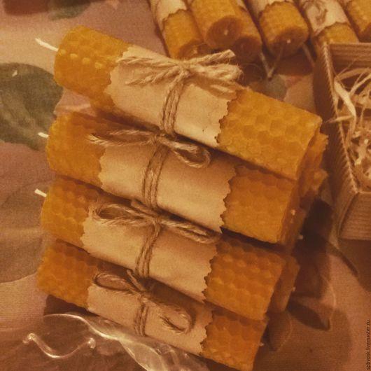 Свечи ручной работы. Ярмарка Мастеров - ручная работа. Купить Мини-свечи из вощины, 10см. Handmade. Свеча, комплимент
