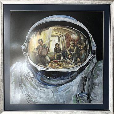 Картины и панно ручной работы. Ярмарка Мастеров - ручная работа Два мира. 64х64 см. Handmade.