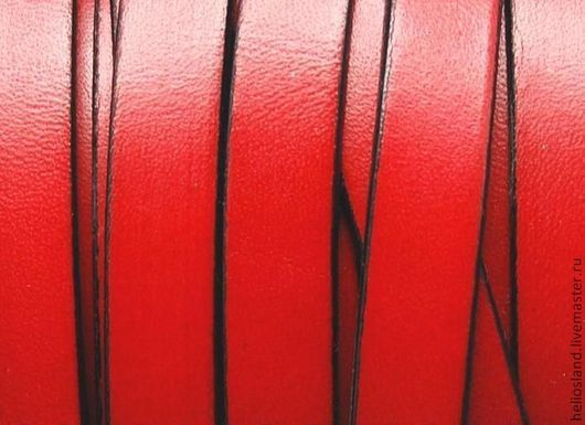 Для украшений ручной работы. Ярмарка Мастеров - ручная работа. Купить Кожаный шнур плоский 10 мм красный. Handmade.