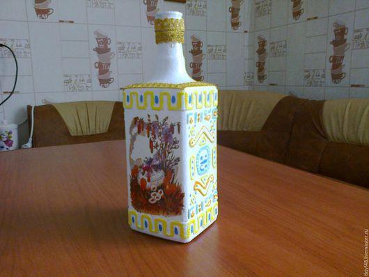Графины, кувшины ручной работы. Ярмарка Мастеров - ручная работа. Купить бутылочка под святую воду. Handmade. Бутылка декупаж