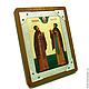 Икона Муромских Петра и Февронии в серебре с камнями