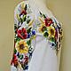 Туника, блуза, блузка, вышитая блуза, вышитая блузка, вышивка, ручная вышивка