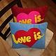 """Подарки для влюбленных ручной работы. Подушка """"Love is..."""". Кремлева Алина handmade. Интернет-магазин Ярмарка Мастеров. подарок"""