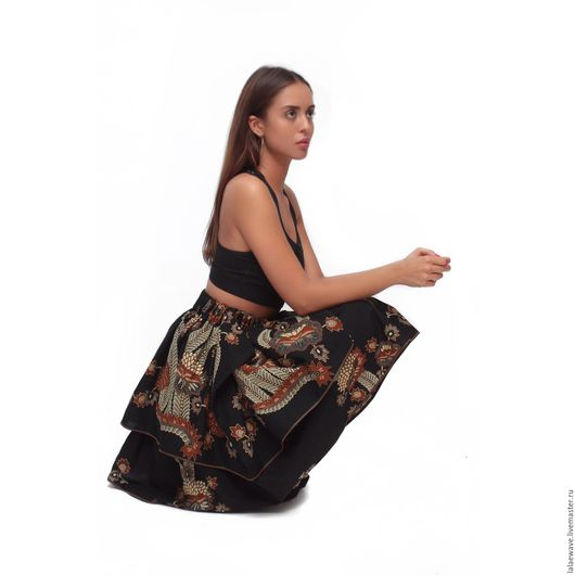 Этническая одежда ручной работы. Ярмарка Мастеров - ручная работа. Купить Юбка из хлопка Bali Legend. Handmade. Черный, бохо