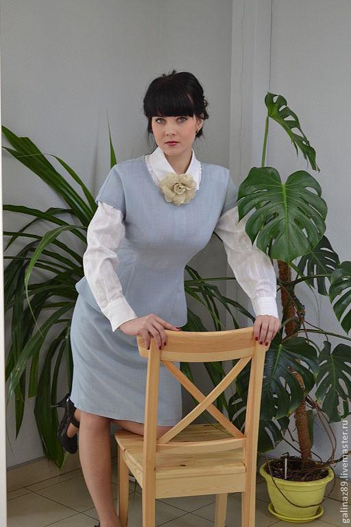 Блузки ручной работы. Ярмарка Мастеров - ручная работа. Купить Блузка Голубая дымка. Handmade. Голубой, молния