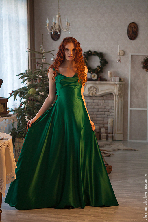 Платья ручной работы. Ярмарка Мастеров - ручная работа. Купить Зеленое вечернее платье в пол. Handmade. Зеленый, Платье на Новый год