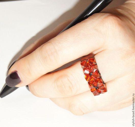 """Кольца ручной работы. Ярмарка Мастеров - ручная работа. Купить Кольцо """"Кристалл"""". Handmade. Кольцо, кольцо для женщины, натуральная кожа"""