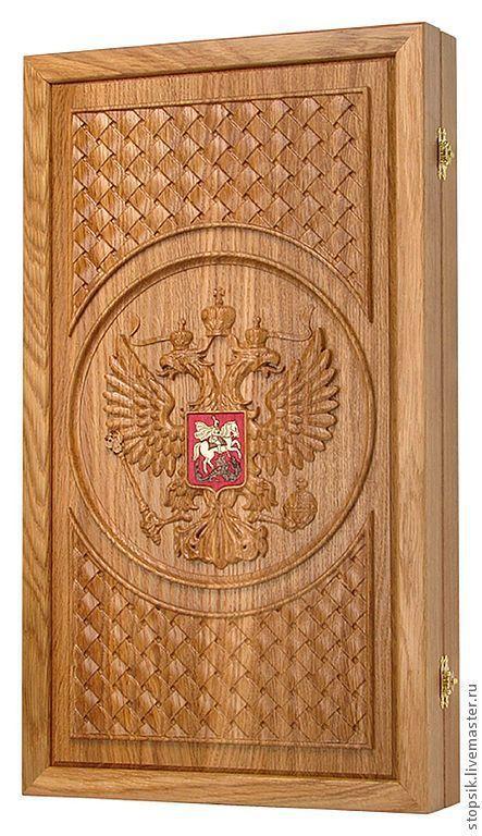 Подарки для мужчин, ручной работы. Ярмарка Мастеров - ручная работа. Купить Нарды, шашки Россия (дуб) (16817). Handmade.