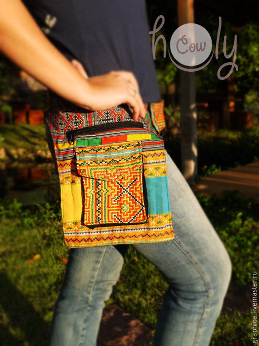 """Женские сумки ручной работы. Ярмарка Мастеров - ручная работа. Купить Яркая сумка на пояс """"Yellow Hmong"""". Handmade. Орнамент"""