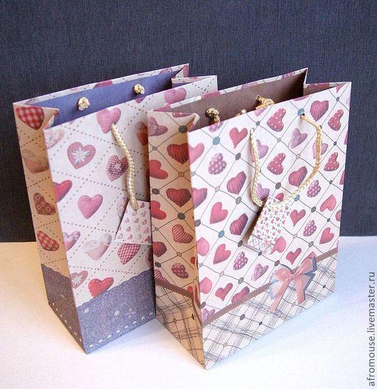 пакетики с сердечками и стежкой, 19х 25 х 9см, крафт