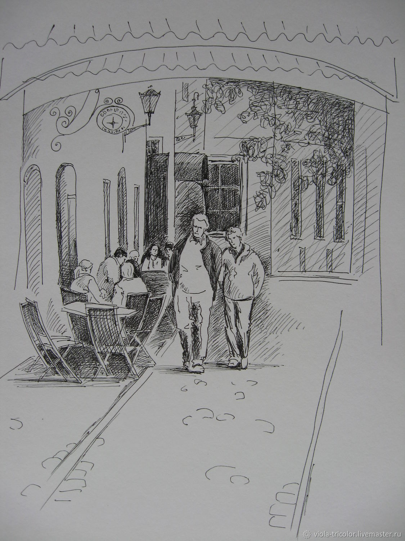 Город ручной работы. Ярмарка Мастеров - ручная работа. Купить Графика Рисунок На старой улице Городской пейзаж Графический рисунок. Handmade.