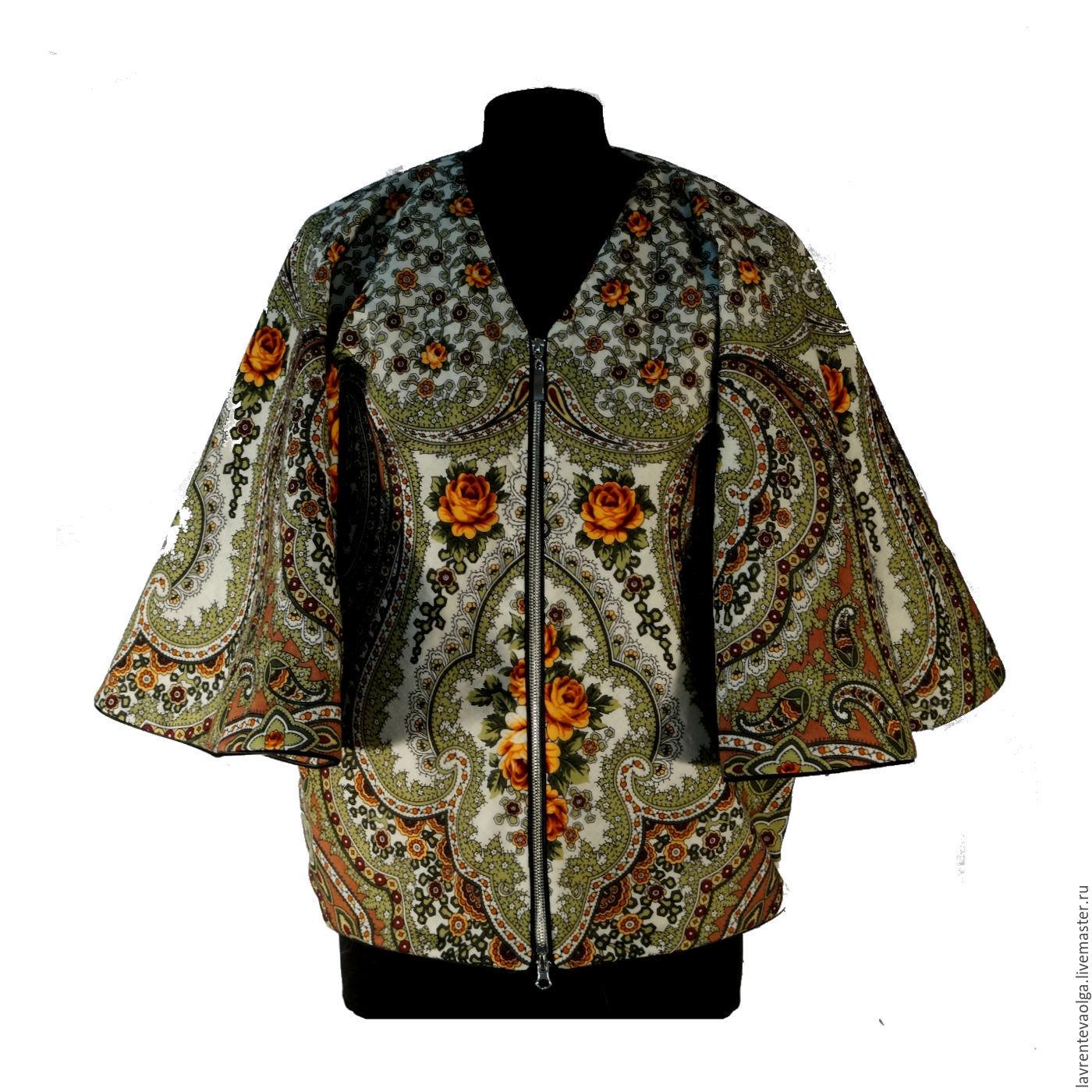 Designer jacket from pavlovoposadskaja shawl 'Fairy of Lilac', Outerwear Jackets, Moscow,  Фото №1