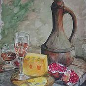 """Картины и панно ручной работы. Ярмарка Мастеров - ручная работа Натюрморт акварелью """"Гранат, вино и сыр"""". Handmade."""