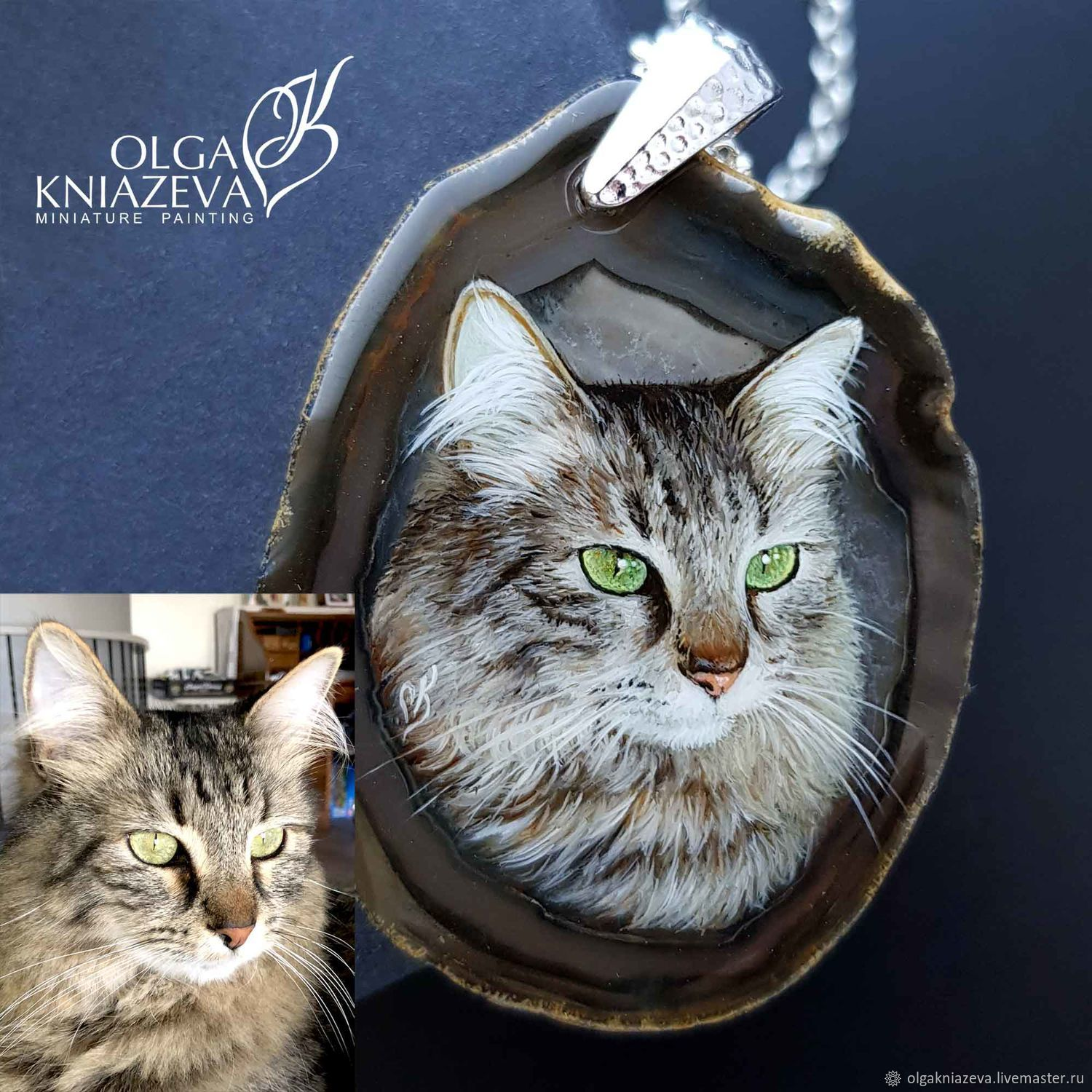 Portrait of a cat on the photo - miniature painting on stone, Pendant, Moscow,  Фото №1