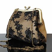 Сумки и аксессуары handmade. Livemaster - original item Leather handbag, leather bag, gold bag, bag on the way out. Handmade.
