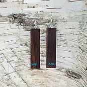 Украшения ручной работы. Ярмарка Мастеров - ручная работа Серьги прямоугольные из палисандра с шатукитом. Handmade.
