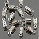 Концевики зажимы для шнуров цвета светлое серебро комплектами по 20 штук для использования в сборке украшений ручной работы