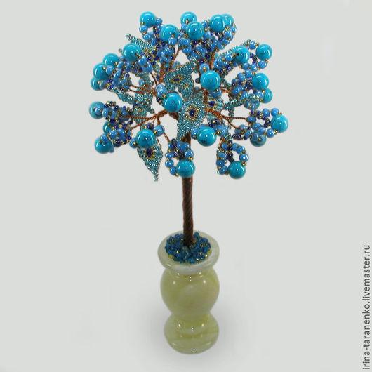 Дерево из бирюзы `Бирюзовый цвет` в вазочке из оникса