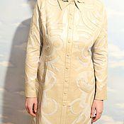 Одежда ручной работы. Ярмарка Мастеров - ручная работа Платье с кожаной аппликацией. Handmade.