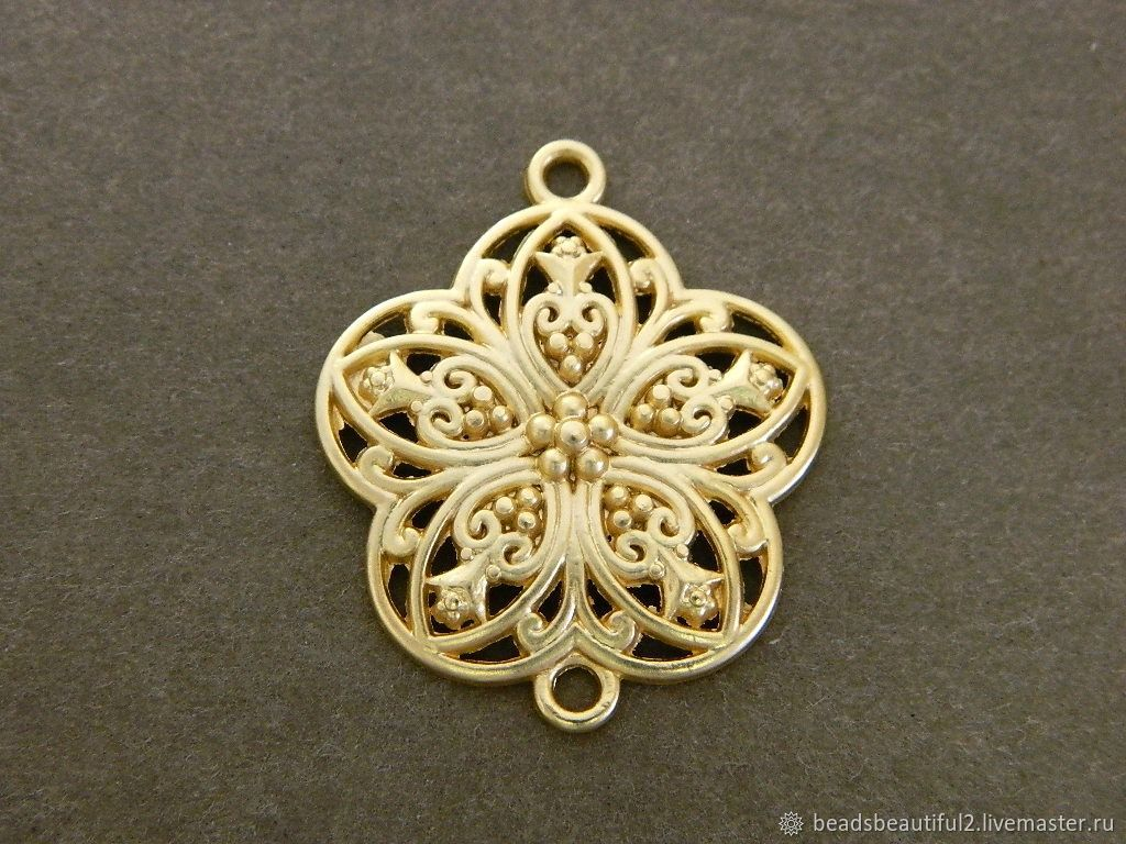 Flower connector gold plated rhodium, Beads1, Saratov,  Фото №1