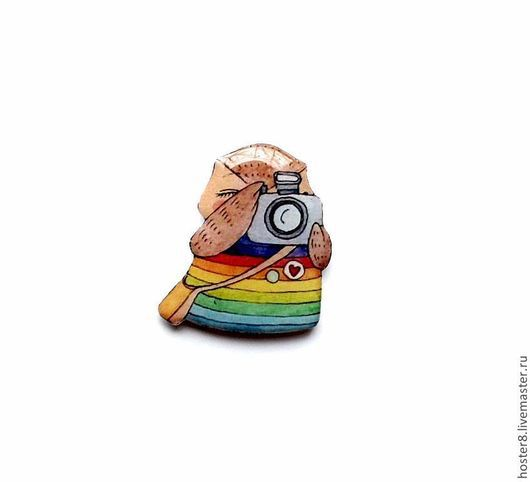 """Броши ручной работы. Ярмарка Мастеров - ручная работа. Купить Брошь """"Совушка-фотограф"""" (0019). Handmade. Радуга, разноцветный, желтый"""