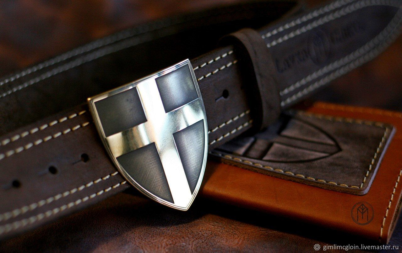 Leather belt with brass buckle ' Teuton', Straps, Tolyatti,  Фото №1
