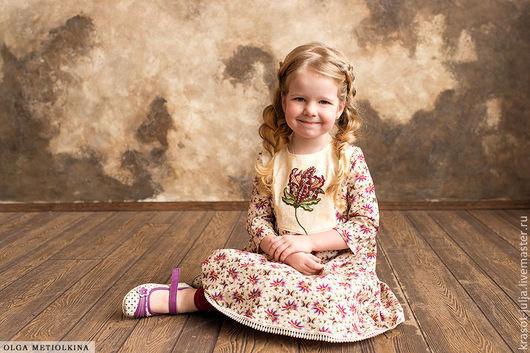 Одежда для девочек, ручной работы. Ярмарка Мастеров - ручная работа. Купить Платье с вышивкой цвета марсала.. Handmade. Бордовый