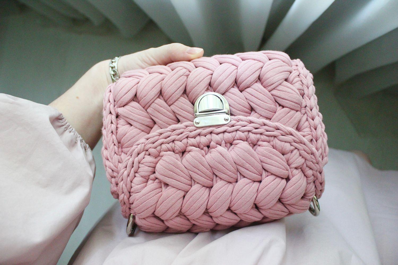 сумка зефирка вязаная из трикотажной пряжи купить в интернет