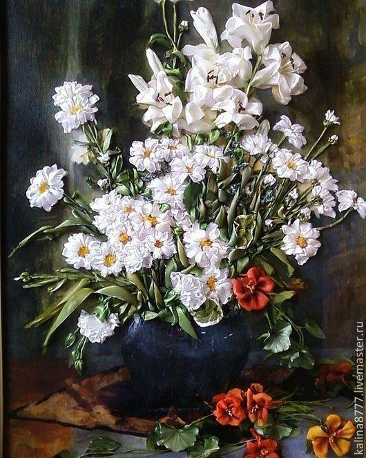 Картины цветов ручной работы. Ярмарка Мастеров - ручная работа. Купить Картина вышитая лентами Ромашки и лилии. Handmade. настурция