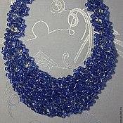 """Колье ручной работы. Ярмарка Мастеров - ручная работа Колье """"Синее. Лето"""" из крупного бисера. Handmade."""