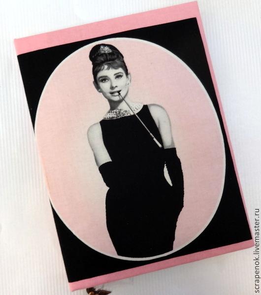 """Блокноты ручной работы. Ярмарка Мастеров - ручная работа. Купить Блокнот ручной работы """"Одри Хепберн"""". Handmade. Розовый"""