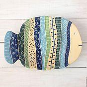 """Тарелки ручной работы. Ярмарка Мастеров - ручная работа Керамическое блюдо """"Рыба узорчатая"""". Handmade."""