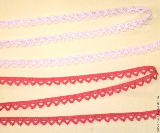 Шитье ручной работы. Ярмарка Мастеров - ручная работа. Купить Арбузное и бледно-розовое хлопковое кружево арт. 4-5-1. Handmade.