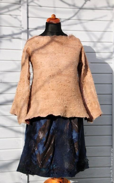 """Юбки ручной работы. Ярмарка Мастеров - ручная работа. Купить Валяная юбка """"Синий шоколад"""". Handmade. Коричневый, клетка"""