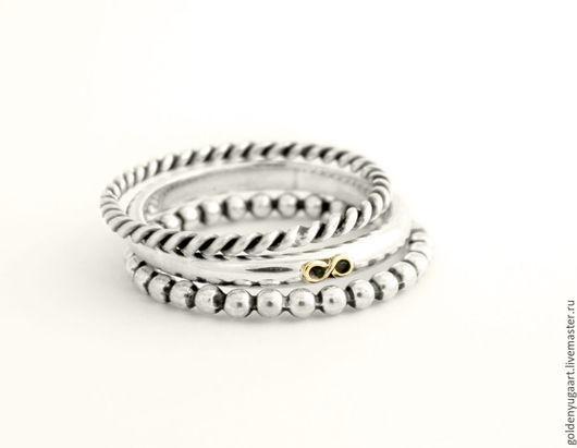 Кольца ручной работы. Ярмарка Мастеров - ручная работа. Купить Набор из трех колец, серебро 925 + золото 585. Handmade.