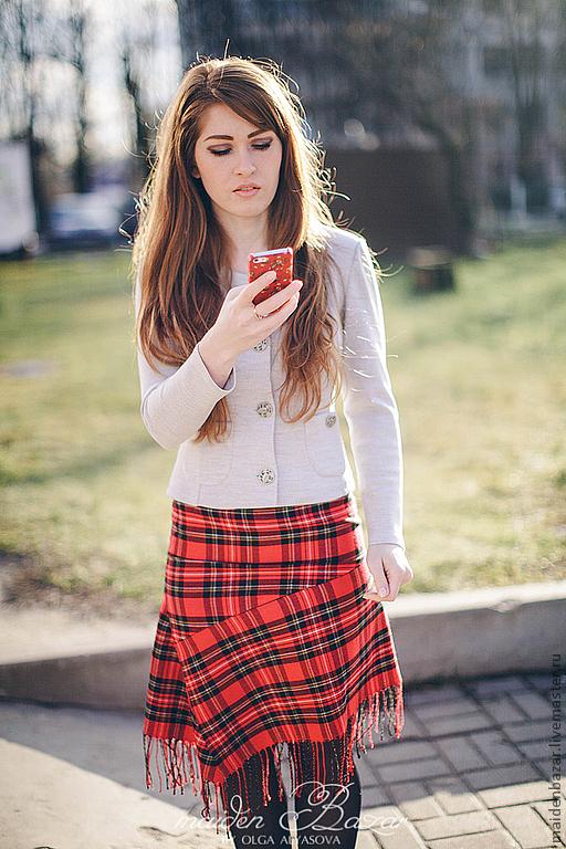 """Юбки ручной работы. Ярмарка Мастеров - ручная работа. Купить юбка в клетку """" Шотландка"""". Handmade. Ярко-красный"""