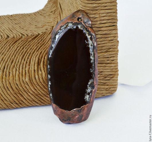 Для украшений ручной работы. Ярмарка Мастеров - ручная работа. Купить Срез агата кулон гальваника 67х30мм. Handmade.